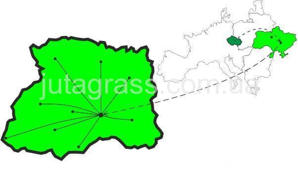 Картинка карты организации принципов работы дилеров искусственной травы JUTAgrass в Украине