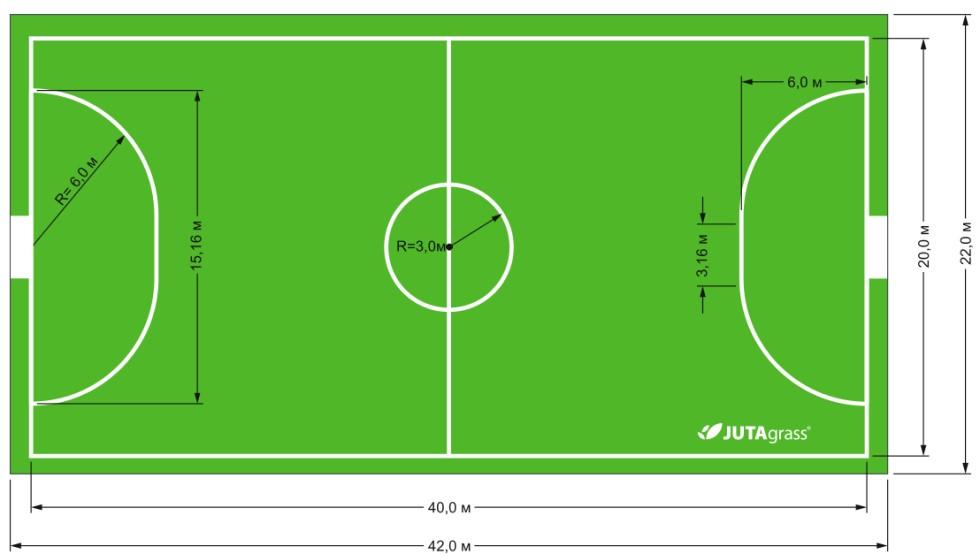 Схема разметки мини-футбольного поля искусственный газон JUTAgrass